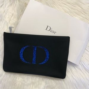 NEW Black Blue Glitter Christian Dior Makeup Bag